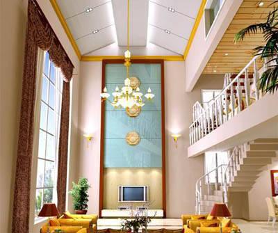 行业资讯 吊顶 时尚天花吊顶 打造百变客厅(图)  此方案在设计上突出图片