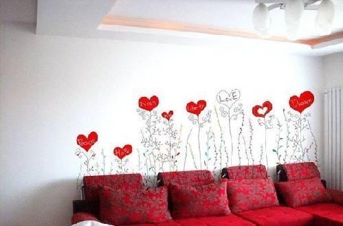 爱情主题手绘墙画