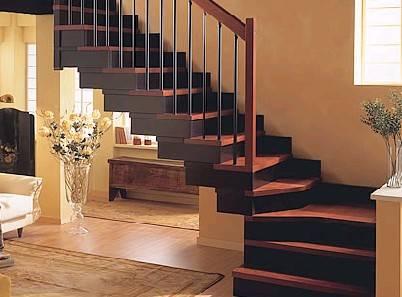则采用木质楼梯最好(实木踏板,雕花小柱式)如装修以现代简结为主则