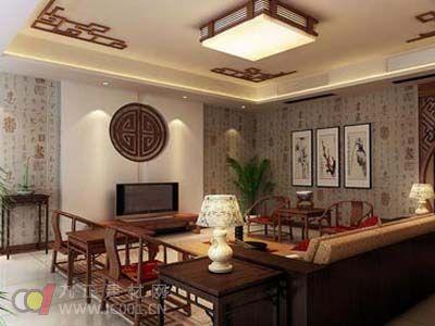 行业知识 幕墙壁纸 2013年客厅壁纸装修效果图之中国风壁纸  2013年
