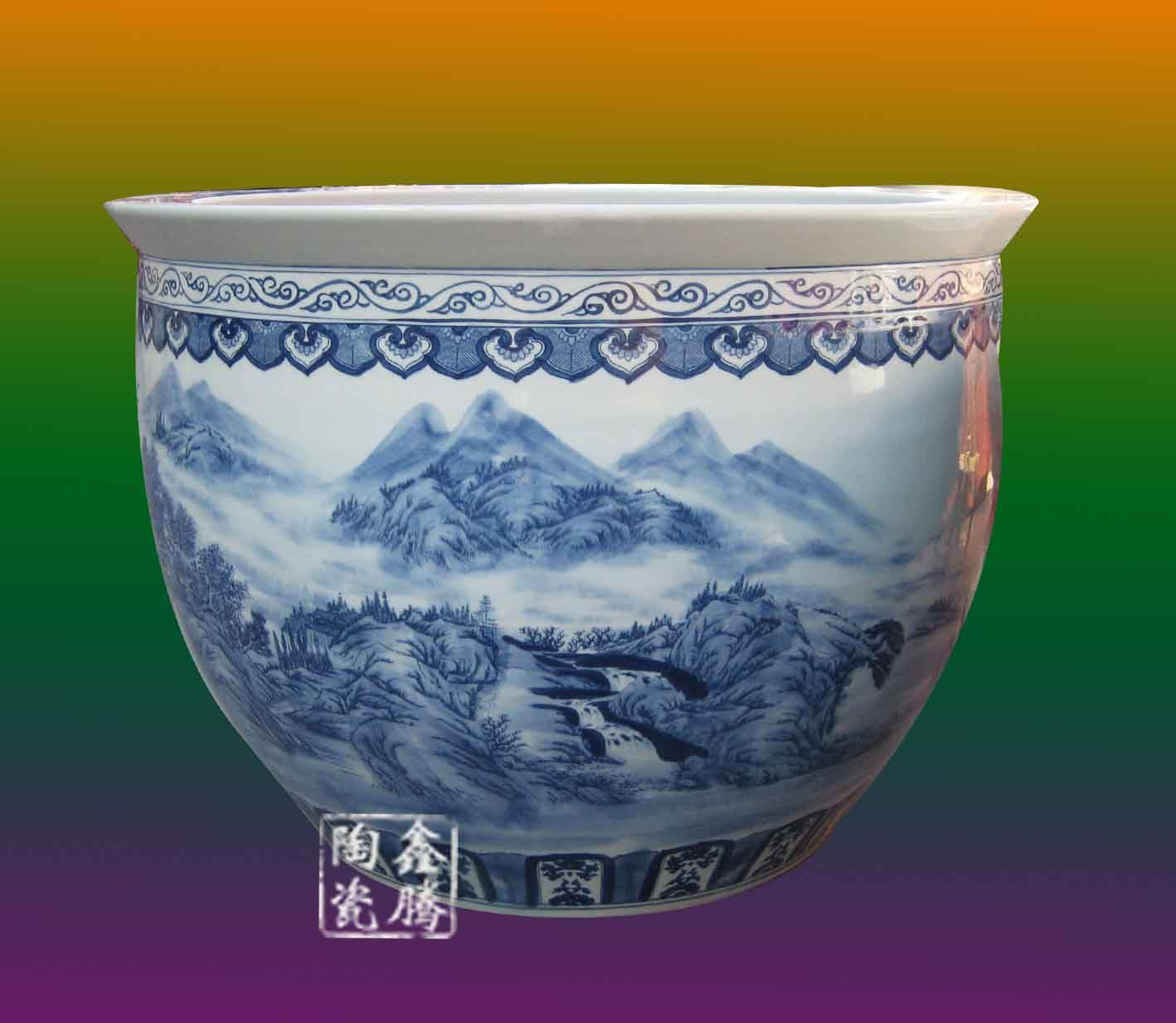供应手绘陶瓷大缸,青花山水陶瓷大缸