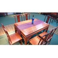 高山巴花花梨全实木餐桌七件套