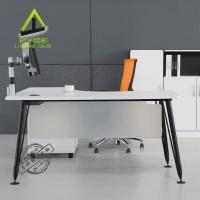 现代老板桌 简约欧式写字台 白色办公桌 时尚书桌 铝脚 办公