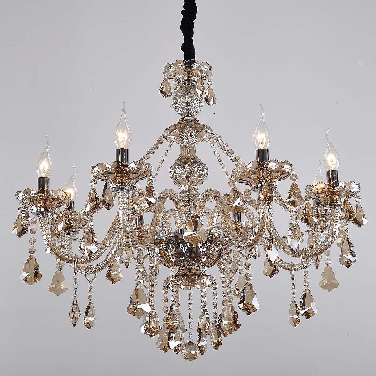 明艺 现代欧式艺术水晶灯客厅灯卧室灯具 干邑色水晶吊灯饰