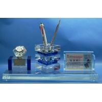 浦江丹奇水晶笔筒 水晶办公三件套 水晶工艺品
