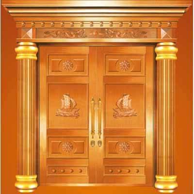 銅鋁門/銅鋁浮雕羅馬柱四開門