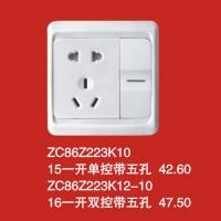 ZC86Z223K10 15一开单控带五孔 42.60