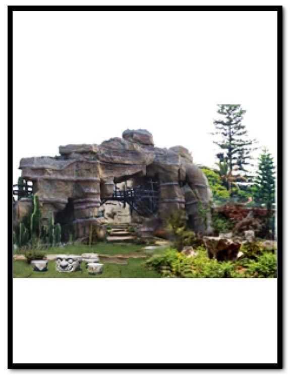欧式别墅庭院塑石假山图片