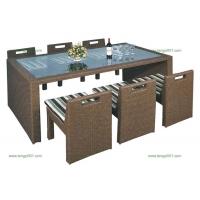 M1148仿藤长方形餐桌椅,餐桌椅价格