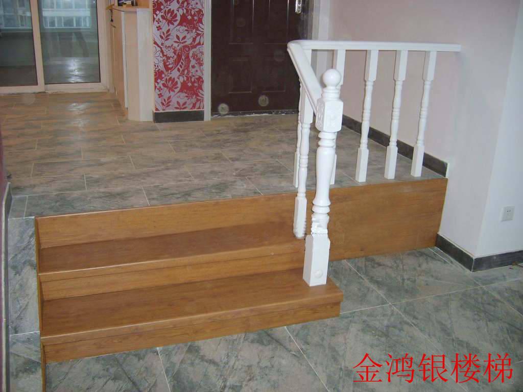 金鸿银楼梯 错层楼梯实木护栏专业制作钢结构图片