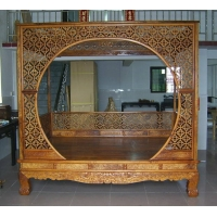 古典家具 黄花梨月洞式棚架大床