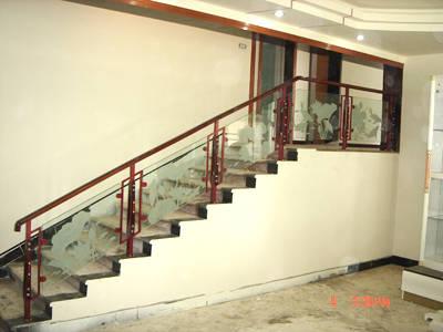 不锈钢实木玻璃组合式扶手