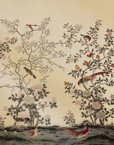 真丝手绘壁纸 北京丝绸手绘壁纸