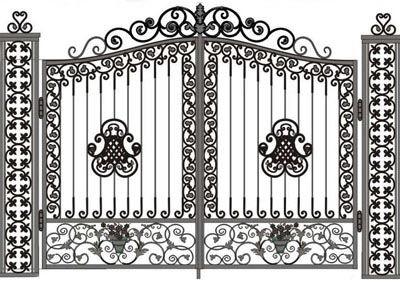 厂家供应订做铁艺装饰欧式 中式 花园 车库 别墅大门 铁门