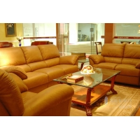 名匠轩-客厅系列--小方几+长茶几+真皮沙发