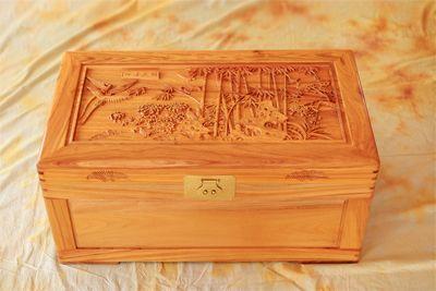 供应雕花樟木箱 创意礼品 樟木箱子a003四季发财