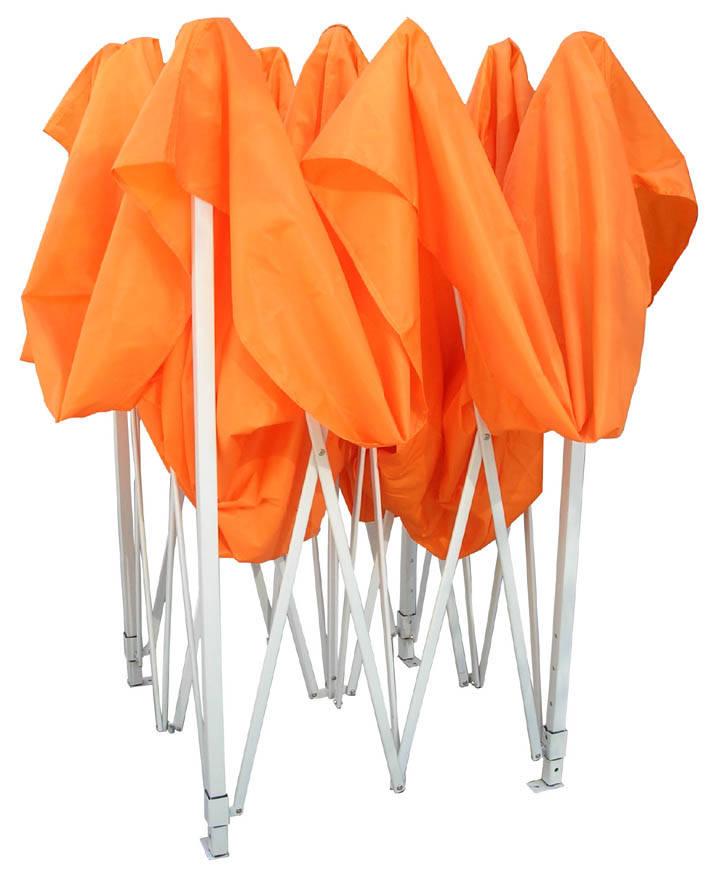 折叠帐篷   1.布料采用防水性好,经久耐用的420D、600D过PVC牛津布,篷面经过防水涂层、防水   抗老化处理,颜色有红、黄、蓝、绿、白、橙、黑等多种颜色。   2.支架采用钢架(表面经烤白漆处理)、铝架(表面经抗氧化处理)、不锈钢架(表面经抛光处理)三种材料。   3.