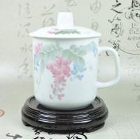 将军杯-紫藤 商务会议礼品杯 高档礼品杯 釉下五彩毛瓷杯