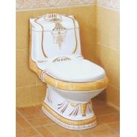 亚陶瓷业-直冲式连体座便器(浮雕金黄彩金)YA-3398