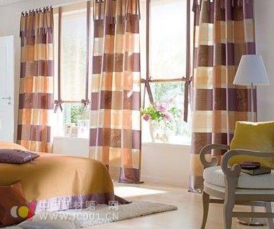 简欧客厅窗帘纯色拼接