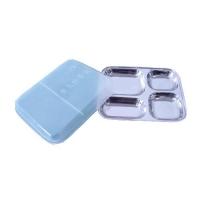不锈钢四格带盖儿童卫生快餐盘
