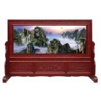 木雕屏风|中式仿古|彩雕油漆工艺|江山多娇