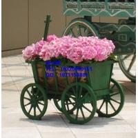 北京酒店景观花箱花车,济南商业街时尚新款木制花箱花车花架花槽