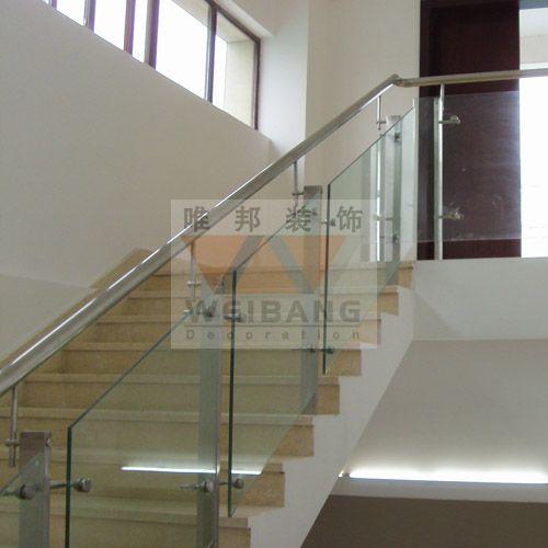 南京钢架铺大理石楼梯-玻璃护栏