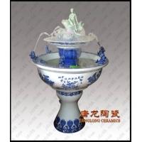 青花双层仙女陶瓷喷泉 空气加湿器 喷雾加湿器 装饰品陶瓷喷泉