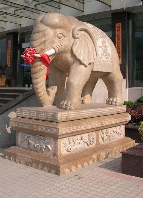 大象等石雕动物雕塑