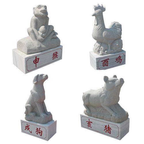 石雕十二生肖属相,石雕12生肖柱