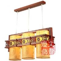 木艺中式吊灯 古典羊皮吊灯
