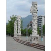 汉白玉龙凤灯柱|汉白玉盘龙柱|汉白玉蟠龙柱雕刻