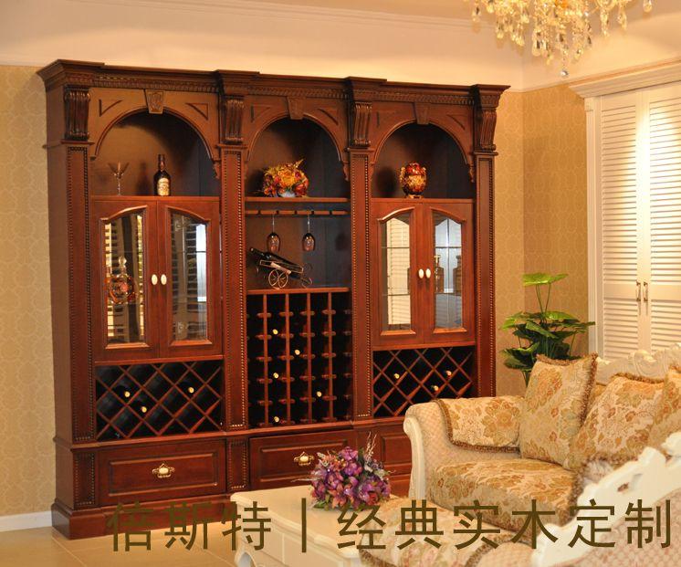实木欧式酒柜产品图片