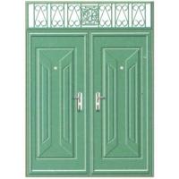 成都龙居防盗门-LJ04开门红双开门(绿锤纹)