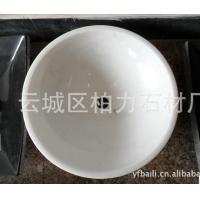 广西白水晶白天然大理石常规圆形洗手盆台盆