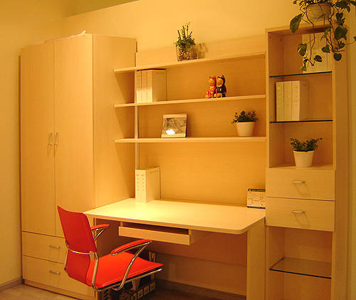 意风家具-卧室系列-衣柜+写字台