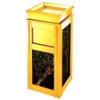 室内大理石垃圾桶、酒店大堂烟灰座垃圾箱、不锈钢钛金果皮桶