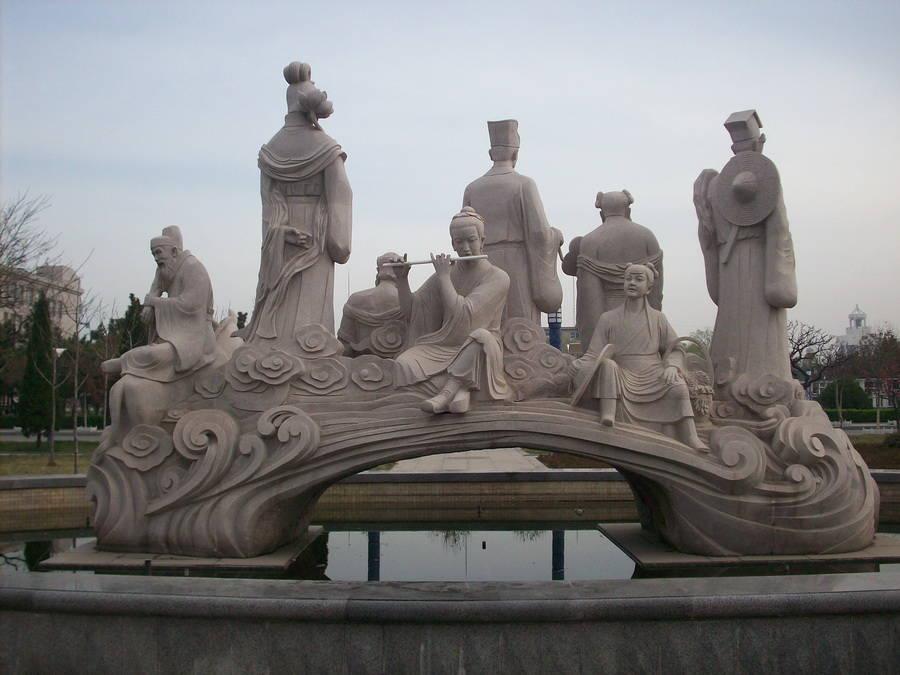 八仙过海花岗岩群雕雕塑