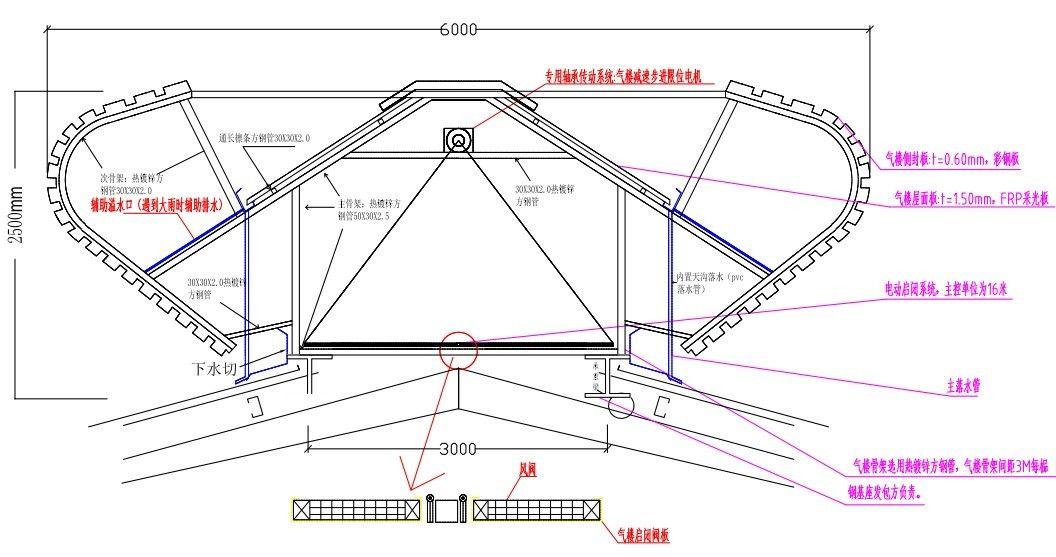 木结构屋脊天窗