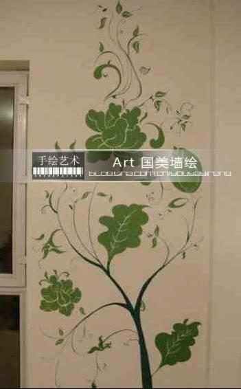 藤蔓植物墙绘图片