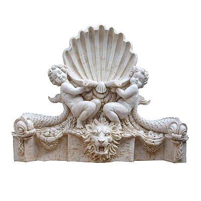洛可可艺术砂岩-雕塑 双天使喷泉浮雕