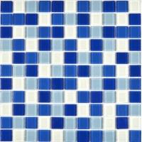 三色蓝水晶马赛克 蓝色混拼白色马赛克现货
