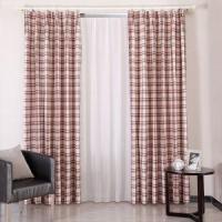 采轩2012新款中式成品窗帘 经典格子卧室窗帘 红灰色客厅布