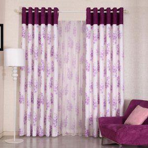 田园风格拼接窗帘 紫荆花开客厅卧室遮光窗帘
