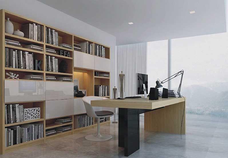 整体敞开局部装烤漆门板大型定制书柜
