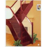 南京红灯木楼梯-L型木楼梯玻璃护栏