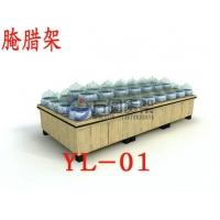 超市酱菜架 木制酱菜架 酱菜坛子 青花瓷酱菜坛子