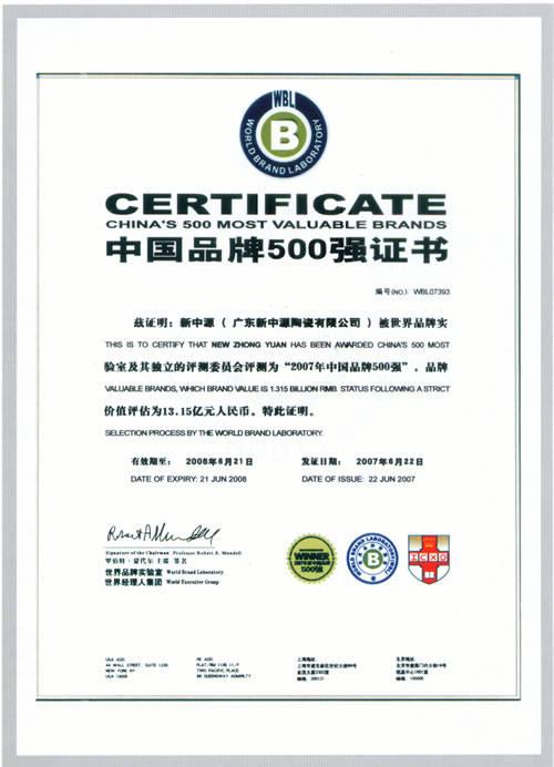 中国品牌500强证书(新中源)