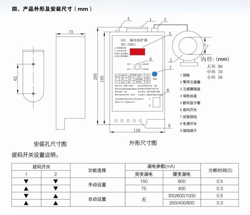 漏电保护器外形及安装尺寸